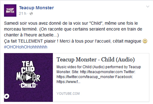 Témoignage du groupe Teacup Monster